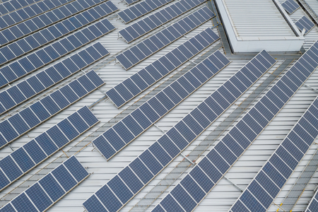 Top view of solar panel station