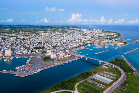 Top view of ishigaki downtown 写真素材
