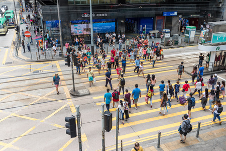 Central, Hong Kong, 18 august 2018:- People walking in the street