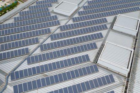 Aerial view of solar panel system Stock fotó