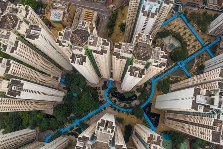 Top down of Hong Kong urban city
