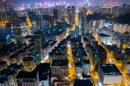 Top view of Hong Kong residential district at night Banque d'images