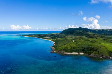 Aerial view of Tropical lagoon of Ishigaki island