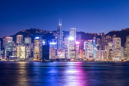Victoria harbor, Hong Kong 2 December 2013:- Hong Kong urban city night