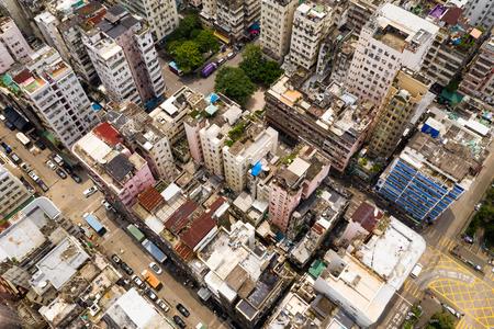 Top down view of Hong Kong downtown