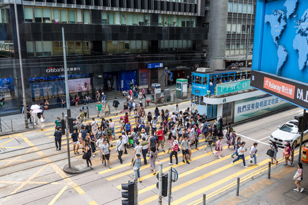 Central, Hong Kong, 18 August 2018:- People crossing the street