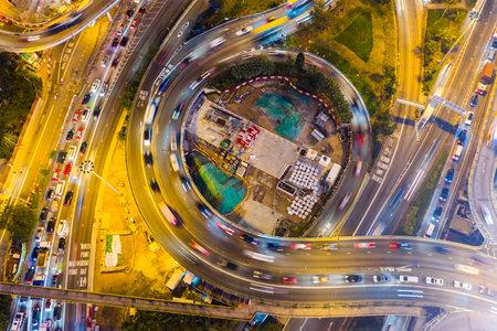 Causeway Bay, Hong Kong 22 February 2019: Aerial view of Hong Kong traffic at night