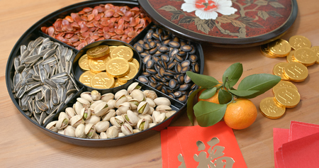 Traditional Chinese new year snack tray with red packet words mean luck and gold coin word means wealth