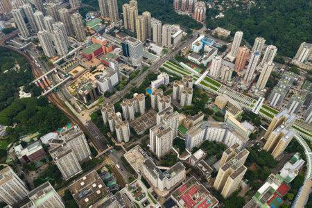 Tuen Mun, Hong Kong, 09 September 2018:- Top view of Hong Kong urban downtown Redakční