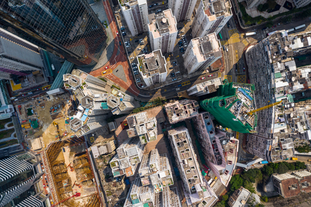 aerial view of Top down view of Hong Kong city