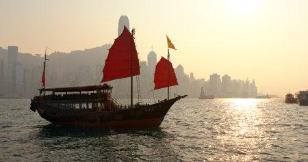 Victoria harbor, Hong Kong, 14 March 2019: Hong Kong sunset