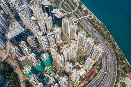 aerial Top view of Hong Kong city