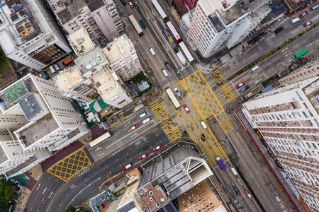 Mong Kok, Hong Kong, 21 de marzo de 2019: ciudad de Hong Kong desde arriba