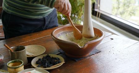 The process of making traditional chinese ground tea, Hakka Lai Cha