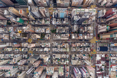 aerial view of Hong Kong city from top
