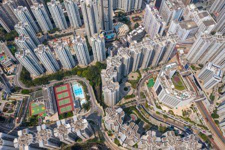 Aerial Hong Kong downtown city