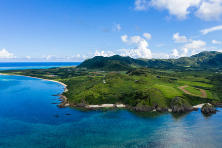 Aerial view of Cape Hirakubozaki in Ishigaki island of japan
