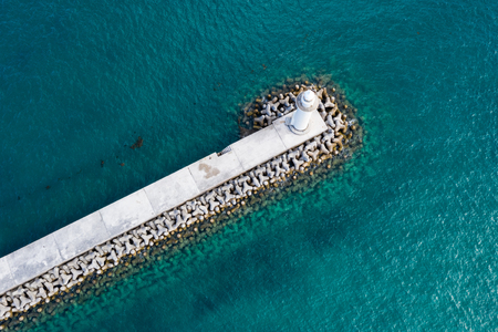 Top down view of Breakwater and sea
