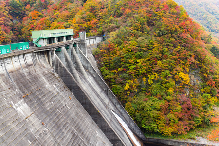 Beautiful autumn dam landscape Banco de Imagens