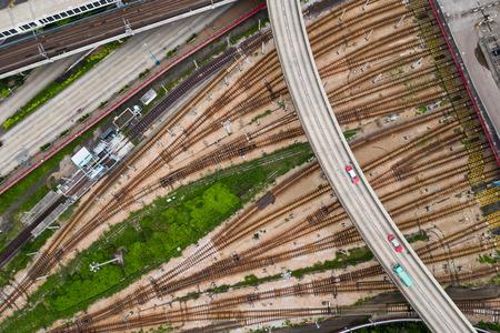 Kowloon Bay, Hong Kong 03 September 2018:-Top down view of railway track