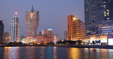 Nam Van Lake Macau- 22 January 2019: Macau city skyline at night