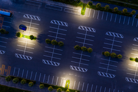 Top down view of car park at night