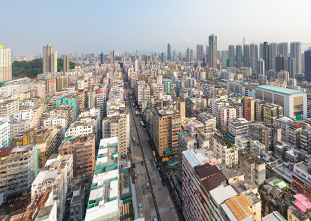 Sham Shui Po, Hong Kong 18 March 2019: Drone fly over Hong Kong city