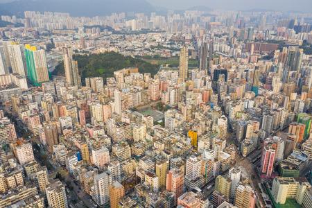 Sham Shui Po, Hong Kong 19 March 2019: Aerial view of Hong Kong city