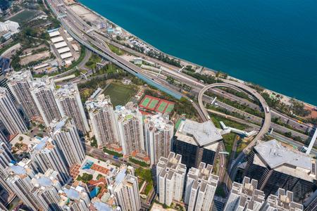 Tai Koo, Hong Kong 19 March 2019: Aerial view of Hong Kong city Zdjęcie Seryjne