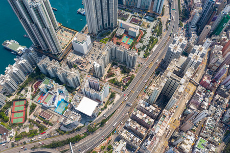 Shau Kei Wan, Hong Kong, 19 March 2019: Top view of Hong Kong downtown city Imagens