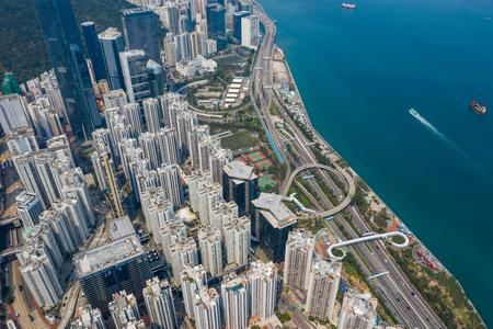 Tai Koo, Hong Kong 19 March 2019: Top view of Hong Kong city Zdjęcie Seryjne