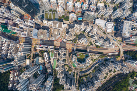 Tai Koo, Hong Kong 19 March 2019: Drone fly over Hong Kong city