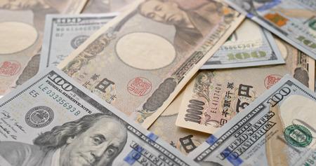 Japanese Yen and USD banknote Stok Fotoğraf