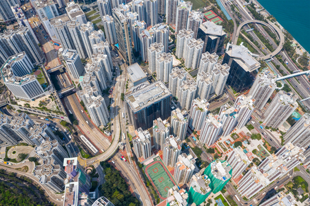 Tai Koo, Hong Kong 19 March 2019: Aerial view of Hong Kong city