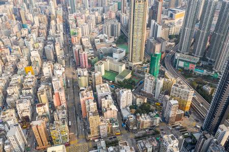 Sham Shui Po, Hong Kong, 19 March 2019: Top view of Hong Kong city downtown Stok Fotoğraf