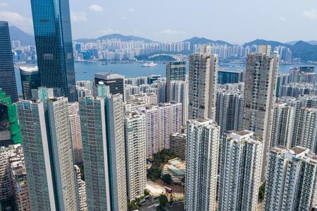 Tai Koo, Hong Kong 19 March 2019: Top view of Hong Kong urban city Zdjęcie Seryjne