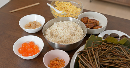 Put food on table and prepare for making rice dumpling 免版税图像
