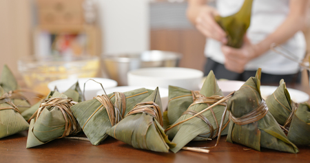 Make steamed sticky rice dumpling at home Stock Photo