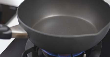 Heat on frying pan prepare for cooking