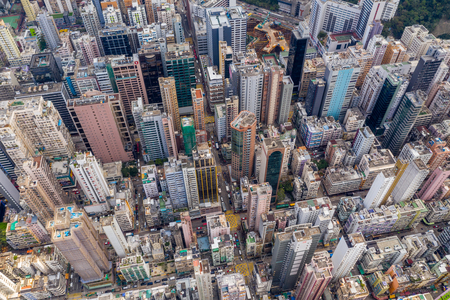 Mong Kok, Hong Kong 21 March 2019: Drone fly over the top view of Hong Kong
