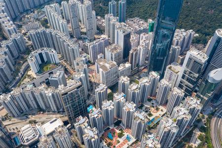 Quarry bay, Hong Kong 19 March 2019: Drone fly over Hong Kong city Zdjęcie Seryjne