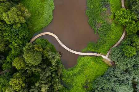Tin Shui Wai, Hong Kong 02 September 2018:- Top down of Hong Kong wetland park