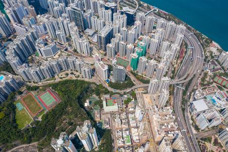 Tai Koo, Hong Kong 19 March 2019:Top down city of Hong Kong city Zdjęcie Seryjne