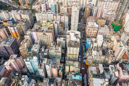 Sham Shui Po, Hong Kong 19 March 2019: Aerial view of Hong Kong city