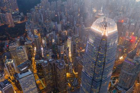 Central, Hong Kong 29 April 2019: Top down view of Hong Kong city at night