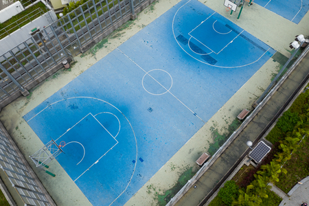 Top view of the recreation basketball playground