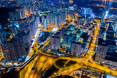 Top view of Hong Kong downtown city at night