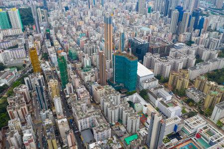 Sham Shui Po, Hong Kong 07 May 2019: Top view of Hong Kong city