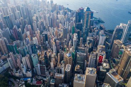 Central, Hong Kong 29 April 2019: Top view of Hong Kong downtown city