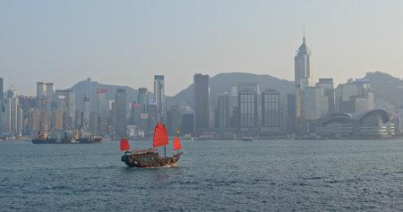 Victoria Harbor, Hong Kong 14 March 2019: Hong Kong city waterway